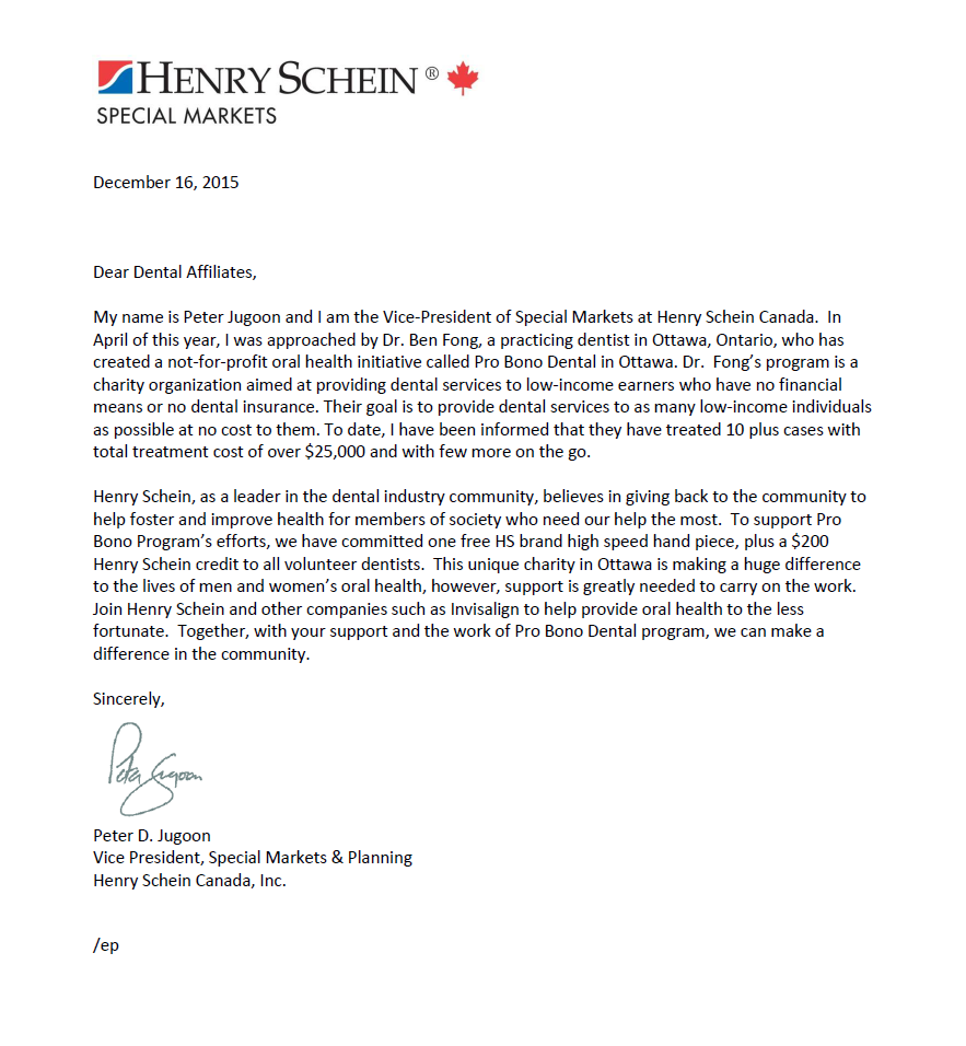 Henry Schein Recommendation Letter for PBD